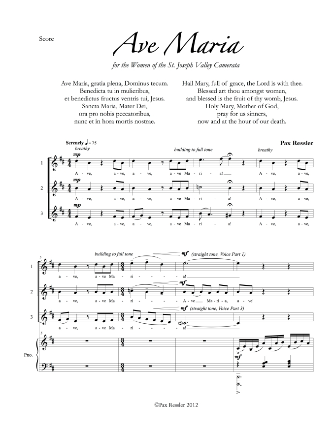 "1-page preview of ""Ave Maria"""