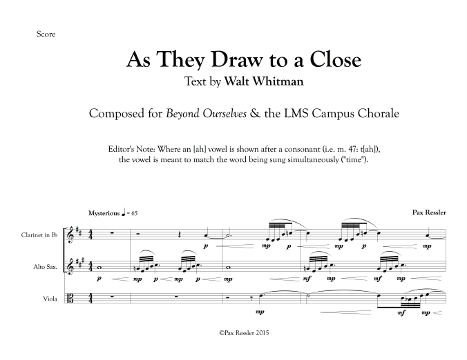 "1-page preview of ""As They Draw to a Close"""